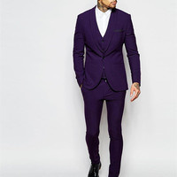 Center Vent Best Man Blazer Suit Groomsmen Shawl Lapel Groom Tuxedos Purple Men Suits Slim Fit