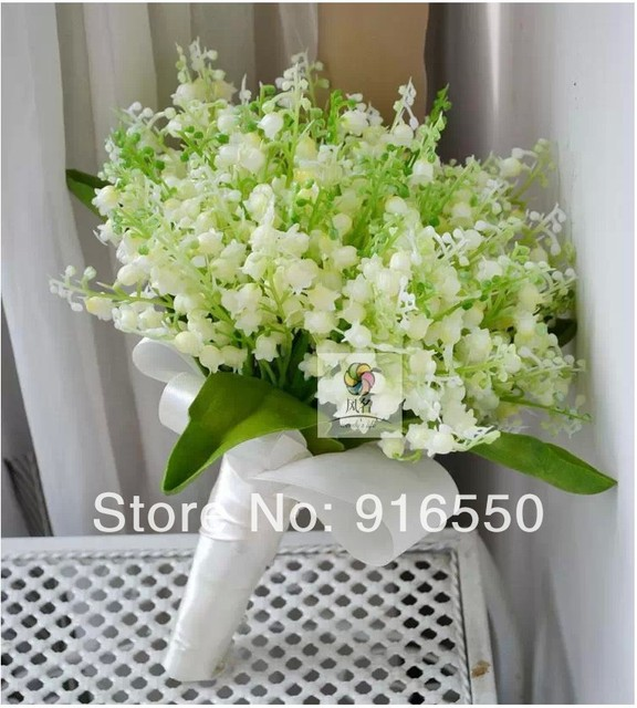 artificial lily of the valley green and white silk bouquet bride