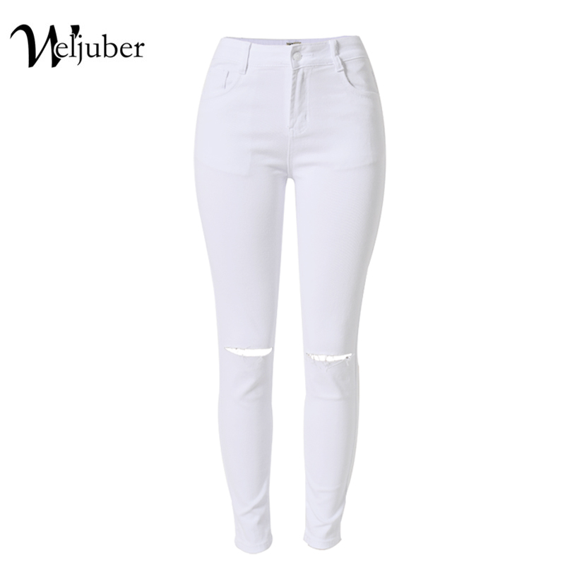 2017 Weljuber Ripped Hole Jeans High Waist Skinny Jeans Denim Slim Pencil Pants Women Cool Sexy High Elastic Wash Jeggings 4xl plus size high waist elastic jeans thin skinny pencil pants sexy slim hip denim pants for women euramerican