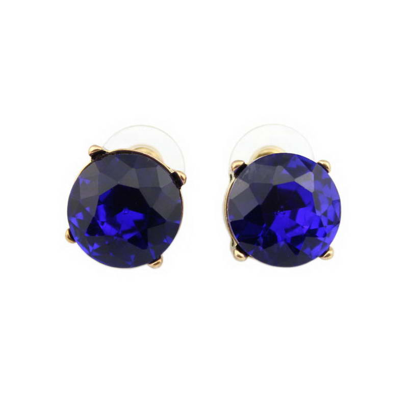 15 MM 2016 Hot Sale Klasik Faceted Putaran CZ Batu Kaca Kristal Dot Stud Earrings untuk Wanita