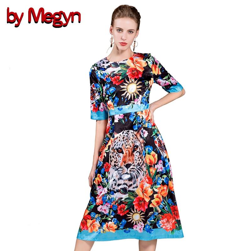 by Megyn designer dresses runway 2017 high quality luxury women leopard print short sleeve boho hippie female dress vestidos