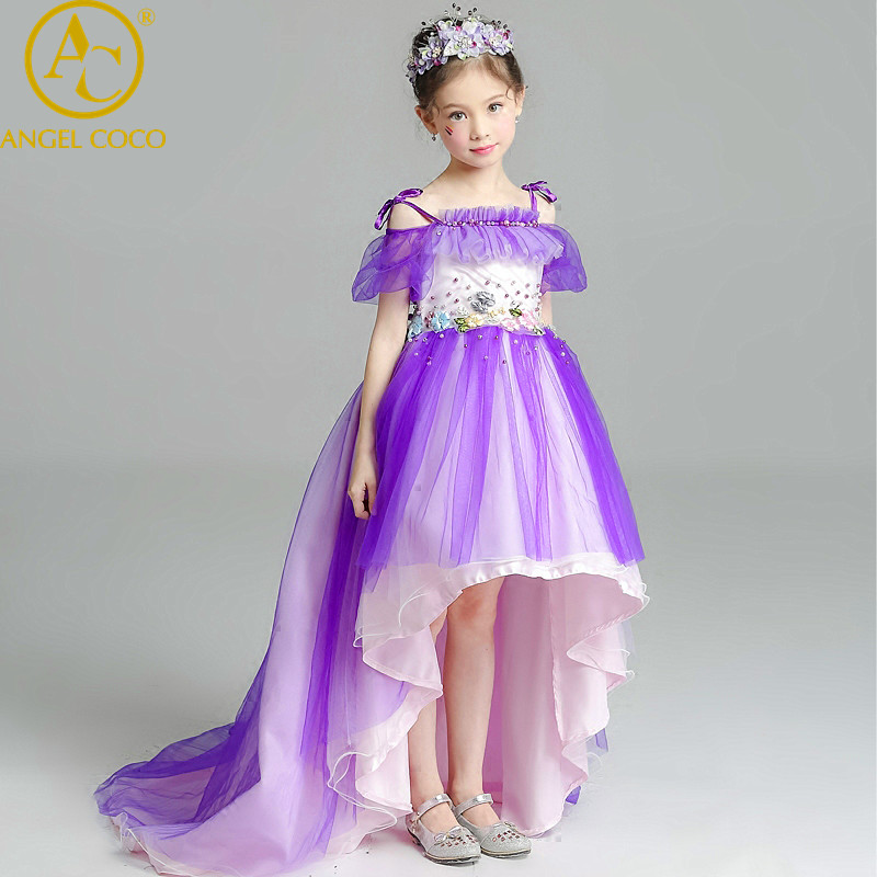 5-15 Year Christmas Kids Girls Wedding Lace Long Girl Dress Elegant Princess Party Pageant Formal Dress Sleeveless Girls Clothes long criss cross open back formal party dress