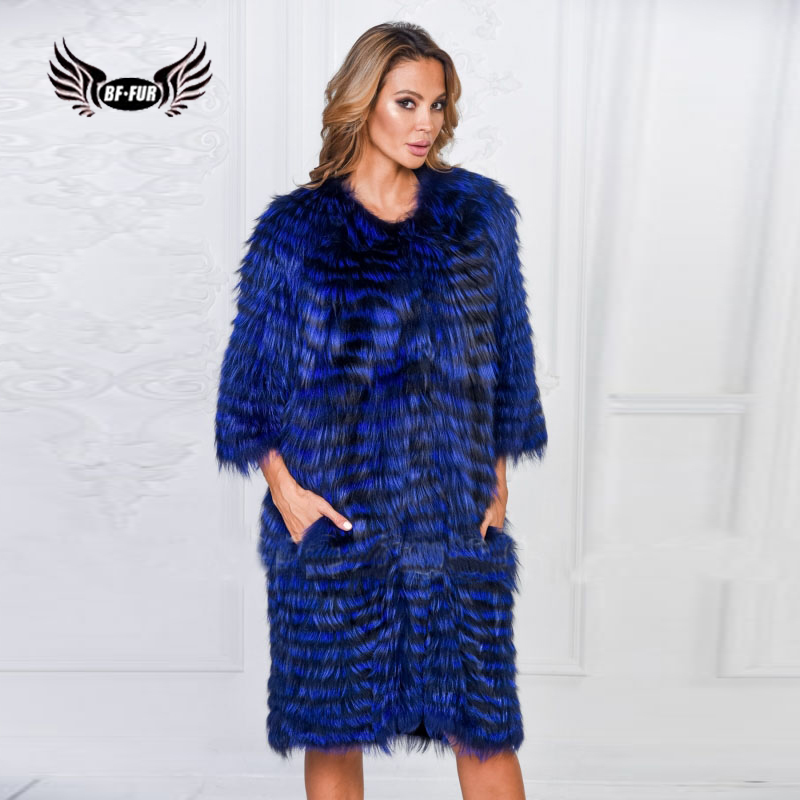 Женское пальто с лисьим мехом BFFUR, длинное камуфляжное пальто с натуральным мехом на зиму 2019