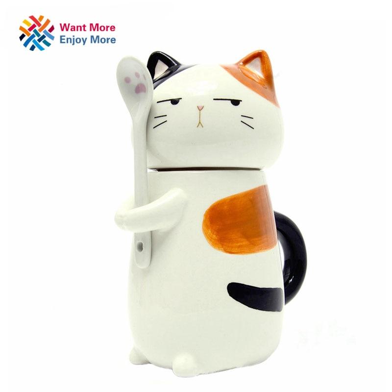 400ml Cute Creative Cartoon Husky Ceramic Personality Mug with Spoon Office Milk Coffee Tumbler hand Colored