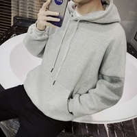 2018 Spring Autumn New Korea Style Fashion Hooded Long Sleeve Thickened Solid Hoodies Men Coat Cotton
