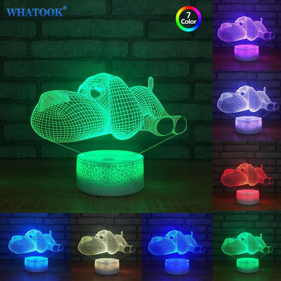 Собака лампы 3D ночник Дети Детские игрушки светодиодный 3D сенсорный Настольный светиль ...
