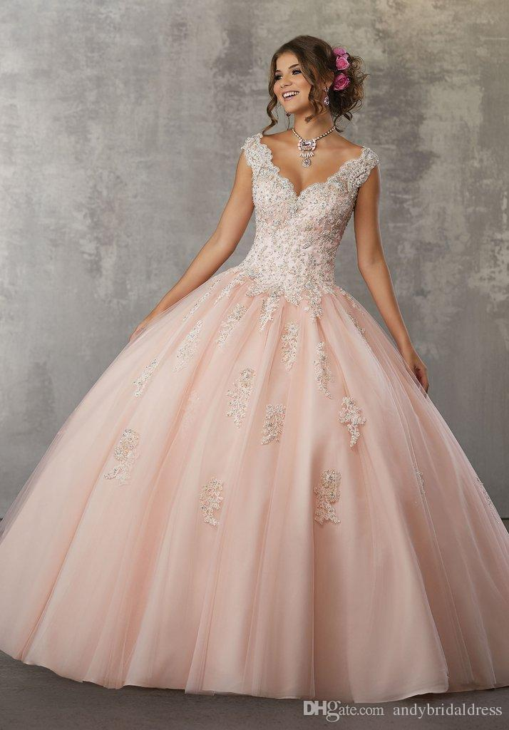Quinceanera Dress 2019 Cap Sleeve Pink Vestido De 15 Anos De Floor-Length Ball Gown Puffy