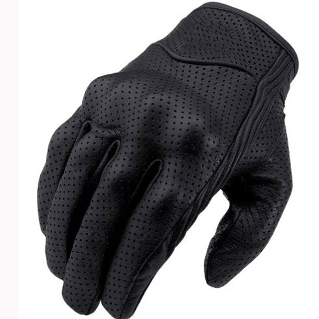 Cycling Gloves Men Short Leather Touch Screen Motorcycle Gloves Outdoor Sports Full Finger Riding Protective Armor Black Gloves