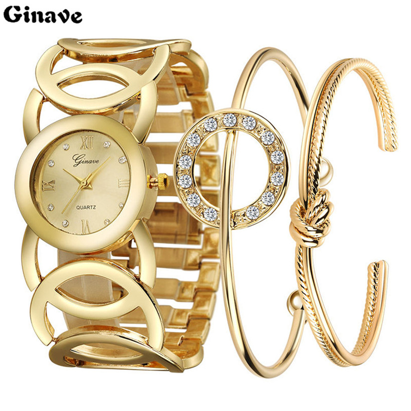 Ginave Famous Brand 2018 New Women Fashion Luxury Watch Gold Diamond Ladies Wristwatch Casual Women Quartz Watch