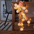 3m 20 led 화이트 핑크 그레이 코 튼 볼 문자열 조명 결혼식 파티 luminaria 크리스마스 나 탈 갈 랜드 장식 배터리 전원-에서조명 문자열부터 등 & 조명 의