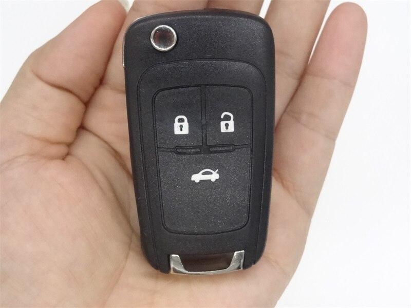 Porte-clés coquille à distance convient pour CHEVROLET 3 boutons Spark Flip clé à distance Fob clé de voiture blanc lame droite non coupée avec autocollant 10 pièces