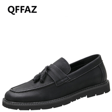 QFFAZ Mens Casual Genuine Leather Shoes Spring Men Flat Walking Loafers Man Black Luxury men leather loafers Slip on