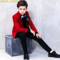 Красный мальчиков костюмы для выпускного Enfant Garcon Mariage черная рубашка смокинг дети Костюмы мальчик дети блейзеры деловой классический костю