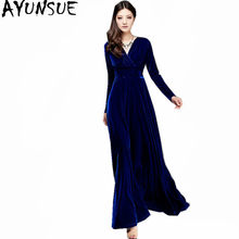 8a2ccb5ee4 AYUNSUE 2018 Azul Plus Size Vestido Feminino Sexy Com Decote Em V Primavera  Inverno Das Mulheres De Veludo Fino X-Longa Noite Ve.