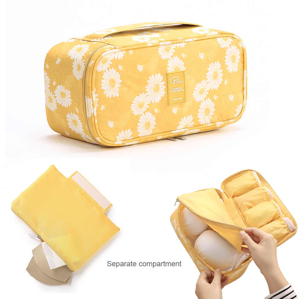 Image 4 - Travel Underwear Organiser, New Daisy Yellow Large Capacity Waterproof Women Ladies Bra Case Travel Pouch Bag Multiple Pockets-in Drawer Organizers from Home & Garden