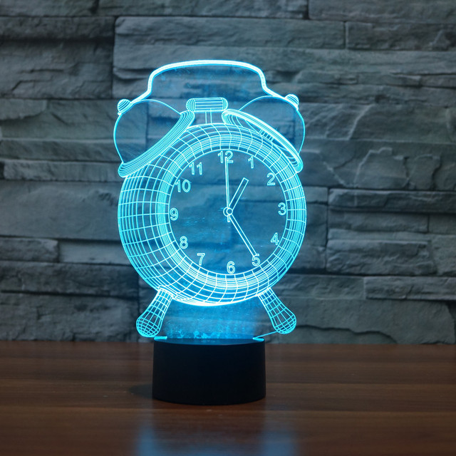 Alarm Clock lamp Touch 7 Color Changing Led 3D Atmosphere Lamp Gradient Visual Perspective Nightlight USB table light IY803436