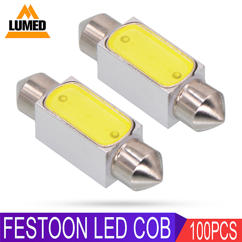 100x Festoon Car LED C5W COB Car Interior Dome Lamp Reading Light 31mm 36mm 39mm 42mm