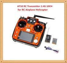 Orange et noir RadioLink AT10 RC émetteur 2.4 G 10CH système de contrôle à distance avec R10D récepteur pour RC avion hélicoptère