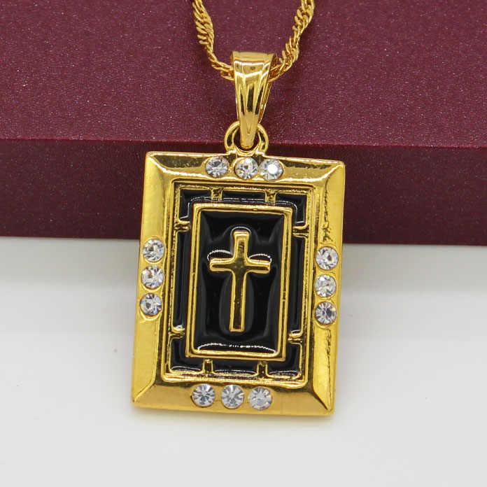 Afrika baru Lintas Liontin Kalung Untuk Wanita Warna Emas Perhiasan Berlian Imitasi Crosses Ethiopia/Eritrea/India Desigh