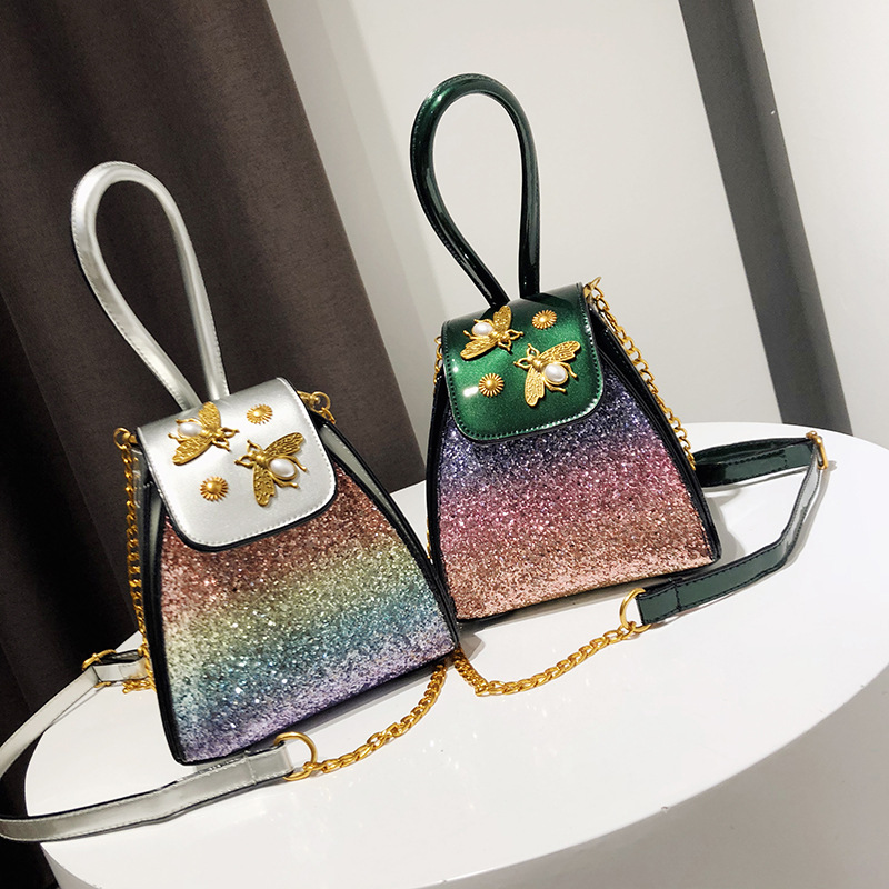 MS пчелы геометрический с заклепками и блестками сумки ручки сумки Цвет блеск мини-Фонари сумка Элитный бренд сумка Для женщин Сумки WB444