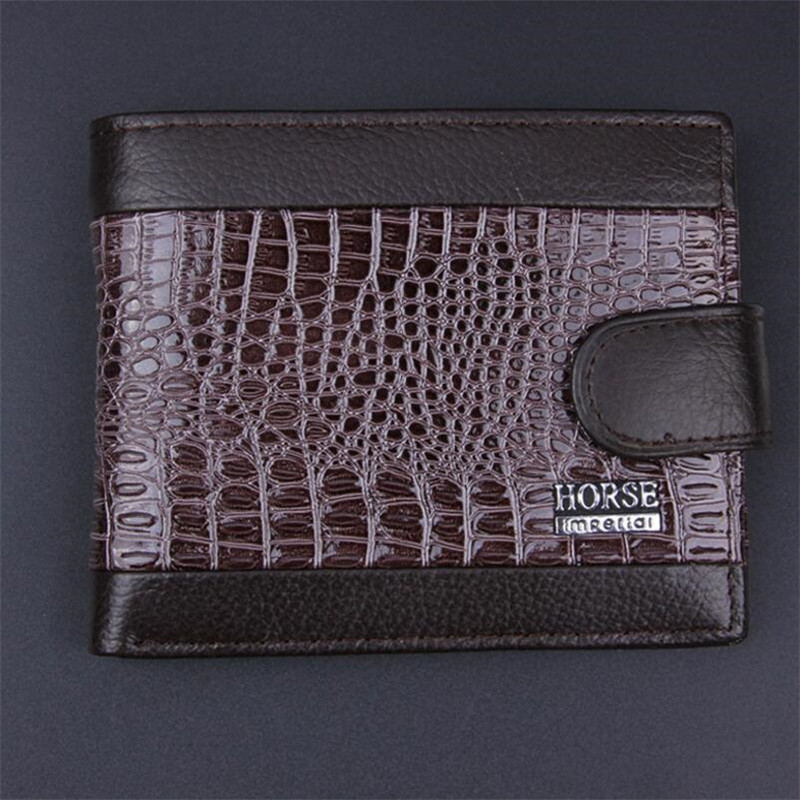 2018 New brand high quality short men 39 s wallet genuine leather qualitty guarantee purse for male coin purse card holder wallet in Wallets from Luggage amp Bags
