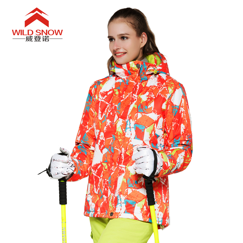 WILD SNOW Winter Ladies Thickened Warm Hooded Outerwear Outdoor Windproof Waterproof Mountaineering Clothing Cold Ski JacketWILD SNOW Winter Ladies Thickened Warm Hooded Outerwear Outdoor Windproof Waterproof Mountaineering Clothing Cold Ski Jacket