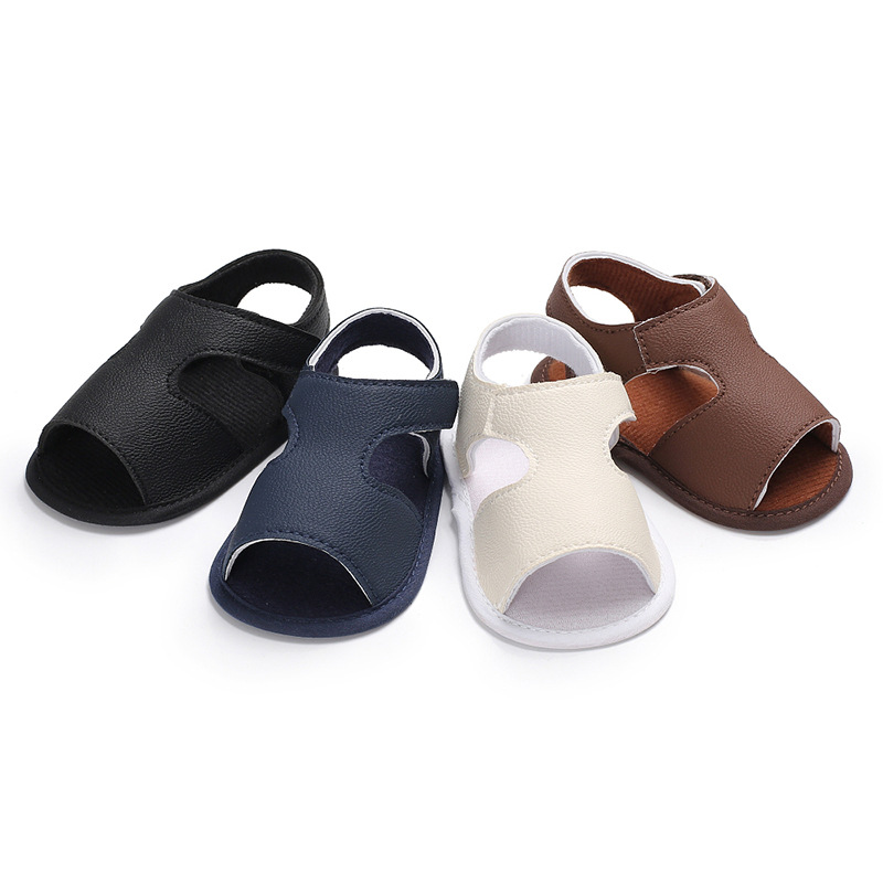 Infant Baby Boy Summer Silicone Non-slip Artificial PU Solid Color  First Walkers Baby Shoes Baby Fashion