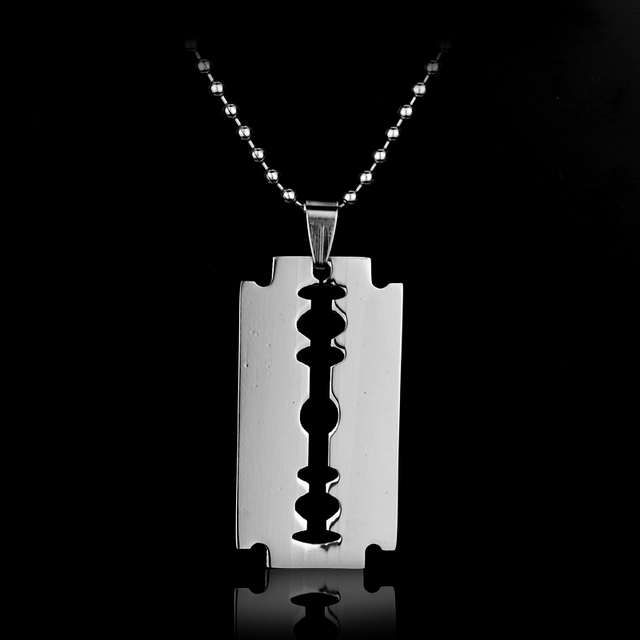 Fashion Stainless Steel Razor Blades Pendant Necklaces Men Jewelry Cool Steel Male Shaver Shape Necklaces by Ali Express