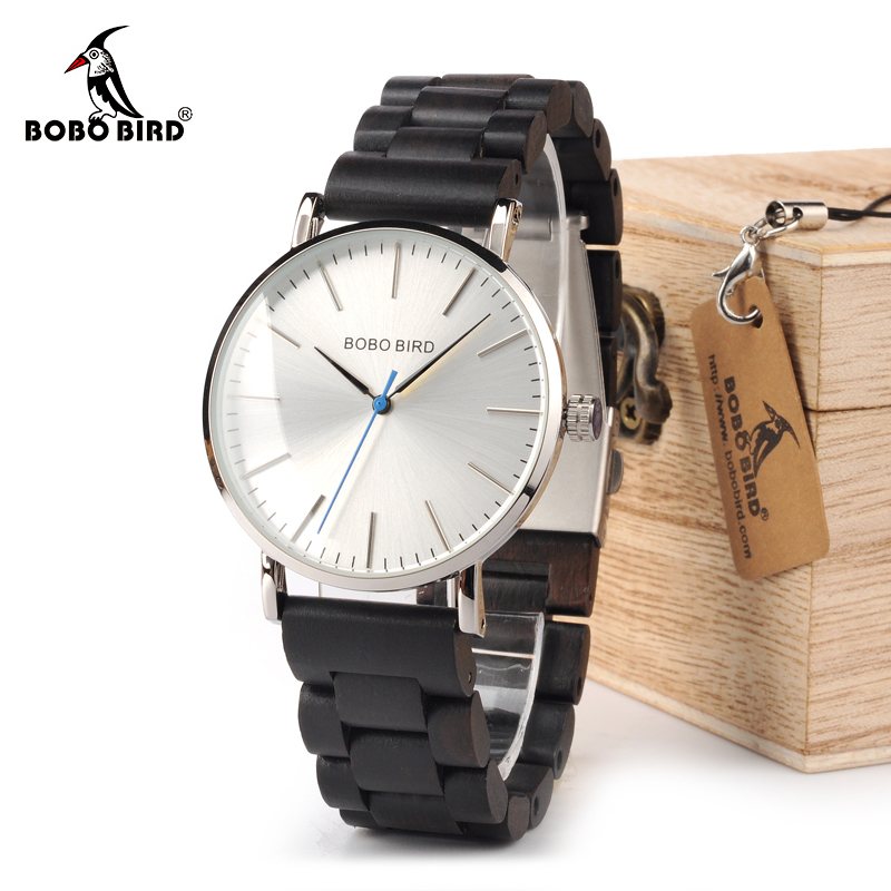 BOBO BIRD WO15O16 Wood Watch Ebony RedWood Wooden Band Watches for Men Simplify Quartz Watch with