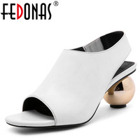 FEDONAS Women Pumps Comfortable High Heels Genuine Leather Shoes Woman Brand Ankle Strap Gladiator Rome Mules Sandals Women
