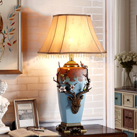 Роскошные голова оленя, ретро стиль из металла Изысканная настольная лампа Спальня прикроватная лампа скульптура украшения из металла аба