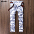 Fashion Men Jeans 2017 New White Printed Denim Trousers Men Vaqueros Hombre Brand Designer Cotton Slim fit Mens Jean Pants
