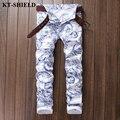 Moda Hombre Jeans 2017 Nuevo Blanco Impreso Pantalones vaqueros Hombre Vaqueros Hombre Diseñador de la Marca de Algodón Para Hombre Slim fit Jean Pantalones
