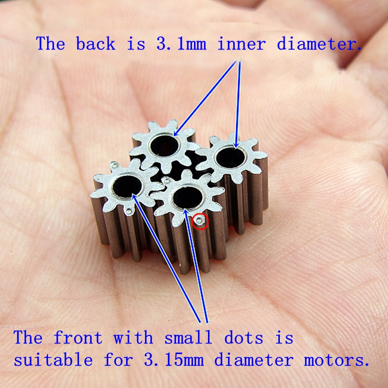 4PC Alloy Gear 9 Teeth Outer Diameter 8.1MM Modulus 0.7-0.75 Fit 3.15 Motor Shaft