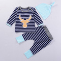 New Autumn & Spring Baby Clothes New Arrivals Sky Blue Hat+Striped Sleeved Tees+Striped Pants 3 Pcs Set Bebe Costume Good Gift