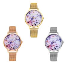 2019 Fashion Flower Dial Watch Simple Women Stainless Steel Analog Quartz Wrist Watch  Geneva Female Watch