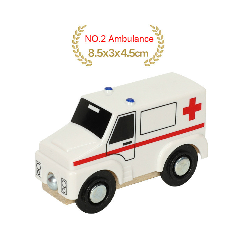 EDWONE деревянный магнитный Поезд Самолет деревянная железная дорога вертолет автомобиль грузовик аксессуары игрушка для детей подходит Дерево Biro треки подарки - Цвет: NO.2 Ambulance