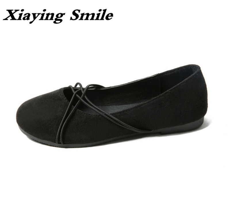 Xiaying Smile Woman Shoes Women Ballet Flats Spring Summer Casual Slip On Shallow Sweet Lady Round Toe Flock Rubber Women Shoes xiaying smile summer women sandals casual fashion lady square heel slip on flock shoes pointed toe cover heel lace bowtie shoes