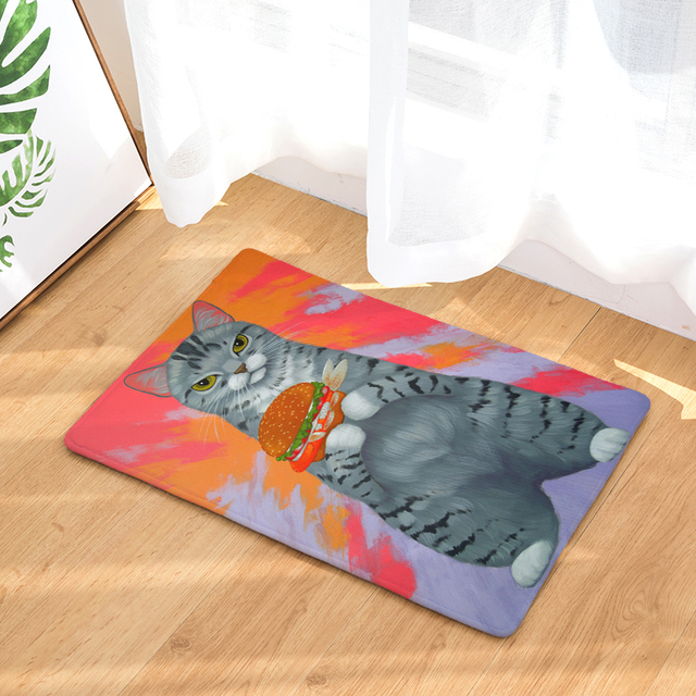 20 Style Lovely Cartoon Cat Animals Print Carpets Anti Slip Floor