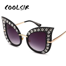 COOLSIR Women Vintage Retro Cat Eye Sunglasses Rhinestone Outdoor Eyewear Glasses Diamond Luxury Oversized Female Shades