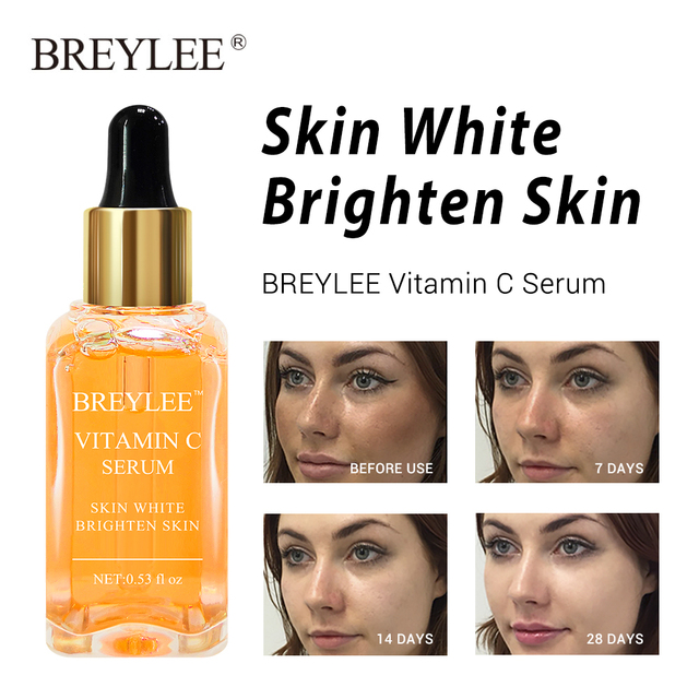 BREYLEE 2pcs Vitamin C Whitening Serum Brighten Lifting Firming Fade Dark Spots Moisturizing Anti Aging Wrinkle