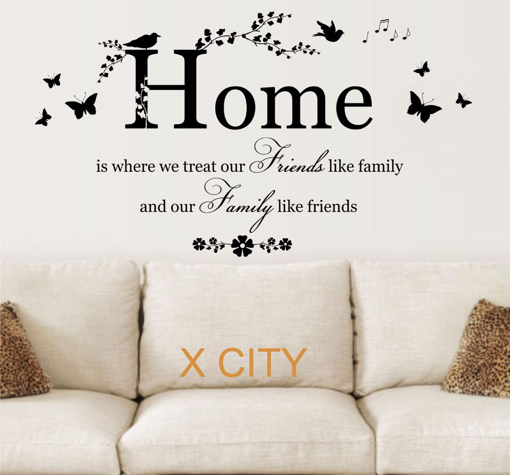 FAMILY FRIENDS HOME QUOTE CREATIVE WALL ART STICKER REMOVABLE VINYL ...