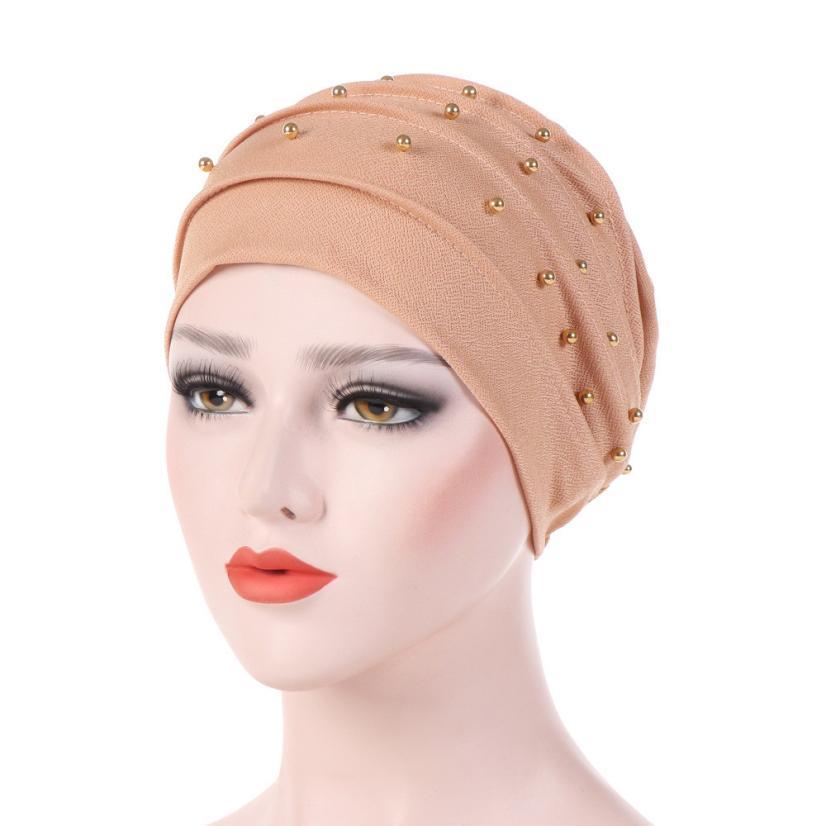 Women Beading India Hat Muslim Ruffle Cancer Chemo   Beanie   Scarf Turban Wrap Cap Female   Skullies     Beanies   Turban Brim casquette A8