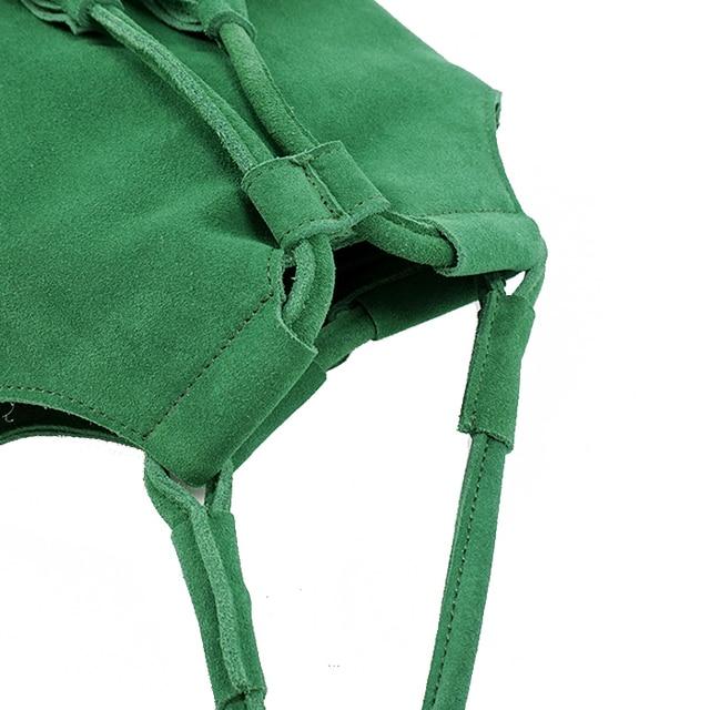 LilyHood 2018 Genuine Leather Small Bucket Shoulder Bag For Women Fashion Leisure Summer Ibiza Suede Fringe Green Crossbody Bag 1