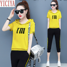 2019 Summer Tracksuit Women Large Sizes Two Piece Set Hoodies Top and Pants Suits Outfit Sportswear Fitness Co-ord Sets Clothing orange plus size 2 piece set women pant and top outfit tracksuit sportswear fitness co ord set 2019 summer large big clothing