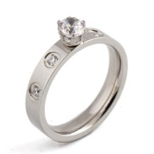 316L Sliver/Rose Stailness Steel Ring Pave Beautiful Clear Crystal Ring Wedding For Girls