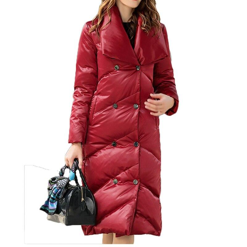 95% Winter Down Jackets Women 2018 Long Jacket Women Coat Collar Jacket Solid Slim Warm Casual Winter Coat Outwear Ladies A341