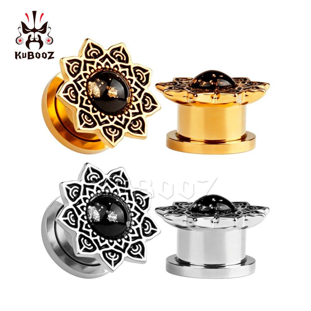 KUBOOZ Ear Piercing Tunnels Stainless Steel Screw Stretcher Plugs Earrings Gauges Expander Body Jewelry Rings 36PCS