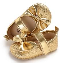 adb54f16 Recién Nacido bebé niñas zapatos de cuero de la PU magia cinta suela suave  antideslizante Prewalker