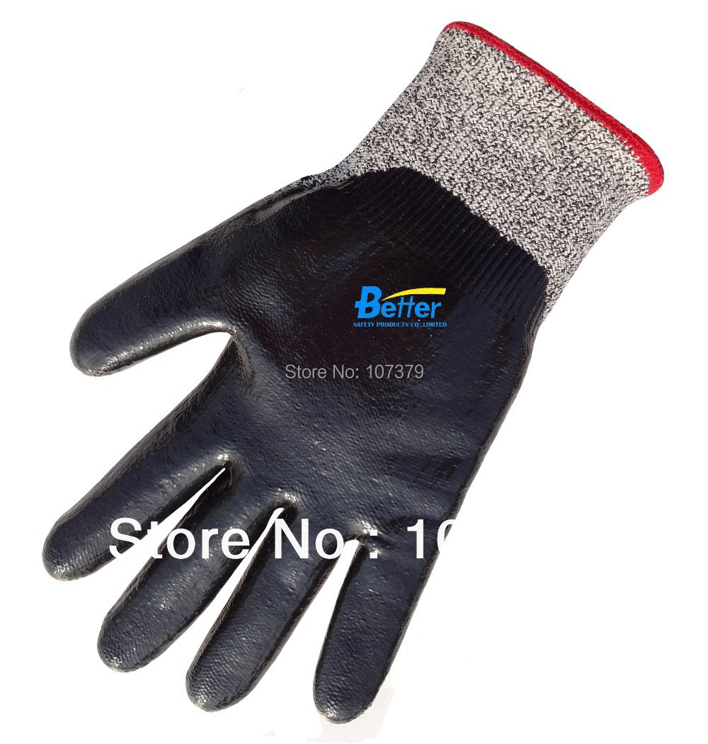 HPPE Labor Gloves Anti Cut Safety Glove Nitrile Dipped HPPE Cut Resistant Work Glove
